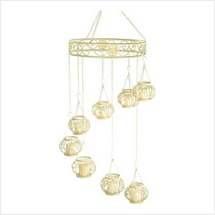 #39038 Wrough iron lacy curlicue hanging chandelier