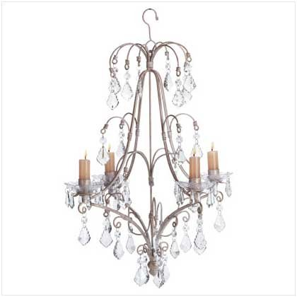 #33001 Shabby elegance style distressed white chandelier