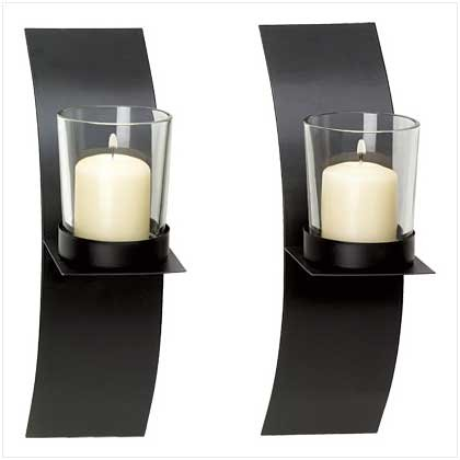 #39066 Chic modernistic matte black finish pair candle sconces