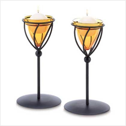 #38649 Matte black metal topaz-colored candle holder