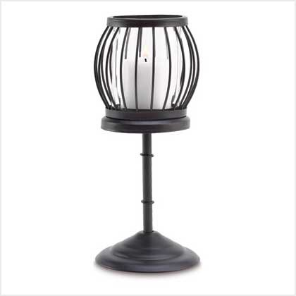 #38651 Birdcage-style candle holder on a pedestal