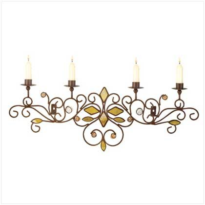 #38030 Flowing metal scrolls lacy candle holder