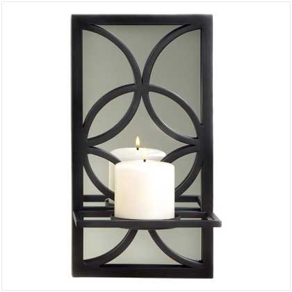 #38207 Curvy black tracery with a mirror candle holder