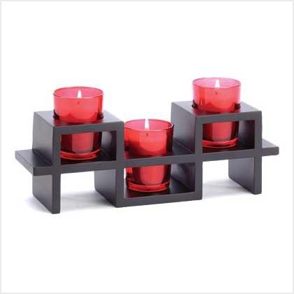 #38678 Split-level base three ruby-hued candle holder