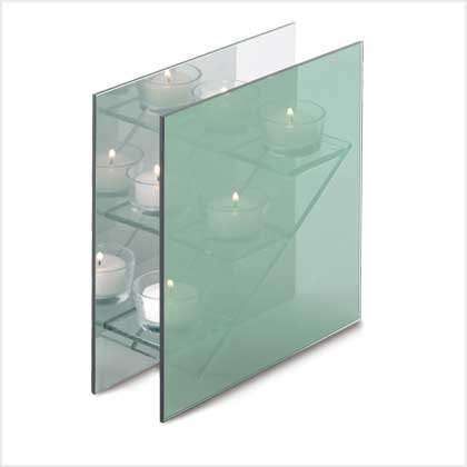 #38589 Three step glass candle holder