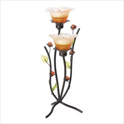 #38951 Slender peony plant candle holder