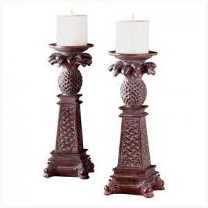 #33306 Pineapple motif candle holders
