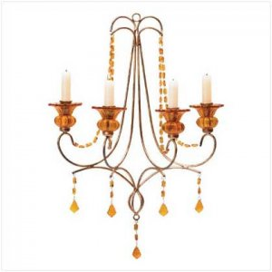 #35602 Four-cup metal half-chandelier with amber glass beads