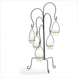 #37854 Curvy metal scrollwork crystal-clear glass votive cups