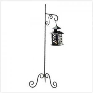 #38233 Fabulous floor lantern scrollwork stand