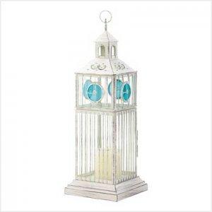 #38970 Iron and glass birdcage-style candle lantern