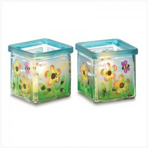 #38527 Perky floral gardenscapes pair candle holders