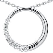 14k White Gold 1.00ct Circle Journey Diamond Pendant
