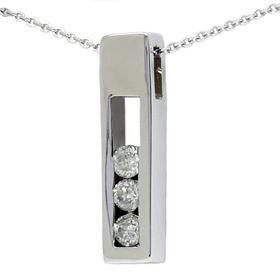 14k White Gold .50ct Three Stone Diamond Box Pendant