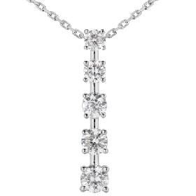14k White Gold 1.00ct Journey Diamond Pendant