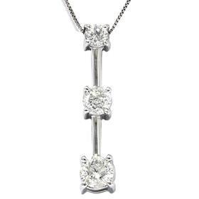 14k White Gold 1.25CT Three Stone Diamond Pendant