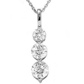 14k White Gold 2.00CT Three Stone Diamond Pendant