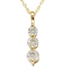 14k Yellow Gold 1.00CT Three Stone Diamond Pendant