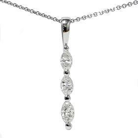 14k White Gold .80CT Marquise Diamond Three Stone Pendant