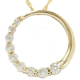 14k Yellow Gold .50ct Circle Journey Diamond Pendant