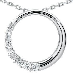 14k White Gold .50ct Circle Journey Diamond Pendant