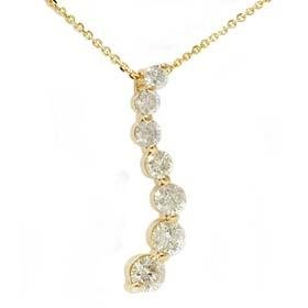 14k Yellow Gold 1.50CT Diamond Journey Pendant