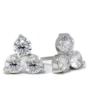 14k White Gold 1.00ct Three Stone Cluster Diamond Earrings