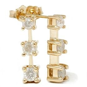 14k Gold Three Stone 1 CT Diamond Earrings