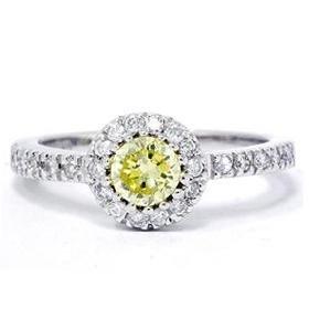 14k White Gold .75ct Yellow Diamond Engagement Ring