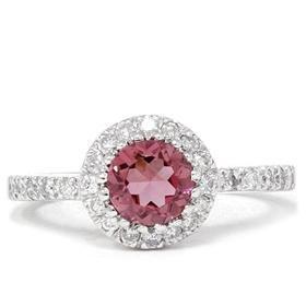 14k White Gold .81CT Pink Tourmaline Diamond Engagement Ring