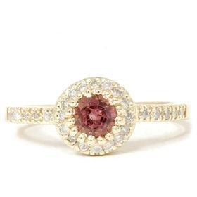14k Yellow gold .81CT Pink Tourmaline & Diamond Engagement Ring