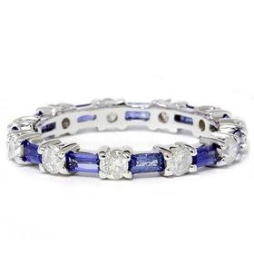 14k White Gold 2 CT Sapphire Baguette Diamond Eternity Band