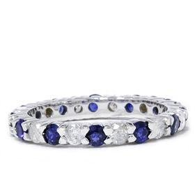 1.50 CT Sapphire & Diamond Gold Wedding Band Ring