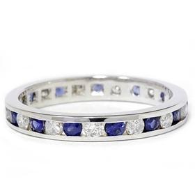 1.50CT 14k White Gold Diamond & Sapphire Eternity Band