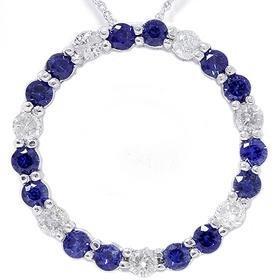 14k White Gold 2.00CT Diamond & Sapphire Circle Pendant