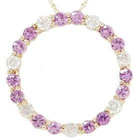 14k 2.00CT Pink Sapphire & Diamond Circle Pendant
