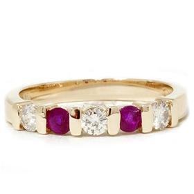 14k Yellow Gold .50CT Ruby & Diamond Anniversary Ring