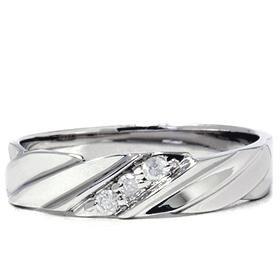 14k White Gold Mens Three Stone Diamond Ring
