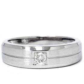Men's 14k White Gold Solitaire Brushed Diamond Wedding Ring