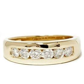 14k Yellow Gold 1.00CT SI Diamond Wedding Ring