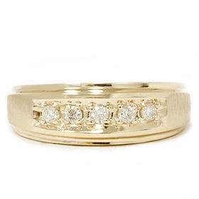 Mens 14k Yellow Gold .15CT Diamond Ring