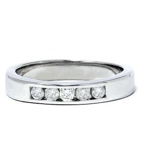 Men's 14k White Gold Diamond Channel Set Ring