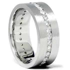 14k White Gold 1.50CT Satin Comfort Fit Wedding Ring