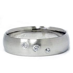 14K White Gold Comfort Fit Bezel Set Diamond Wedding Band