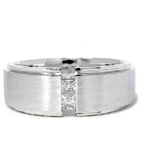 Men's 14k White Gold Princess Cut Diamond Wedding Band