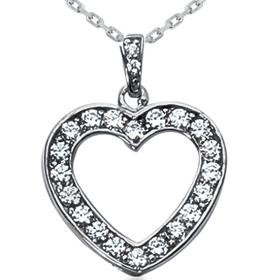14k White Gold .70CT Diamond Heart Pendant