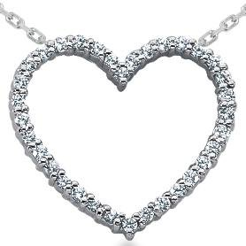 14k White Gold .50CT Diamond Heart Pendant