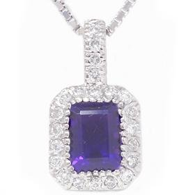 14k 1.85CT Diamond & Emerald Amethyst Diamond Pendant