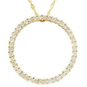 14k Yellow Gold 1.00ct Circle Diamond Pendant