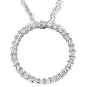 14k White Gold .50CT Circle Of Life Diamond Pendant